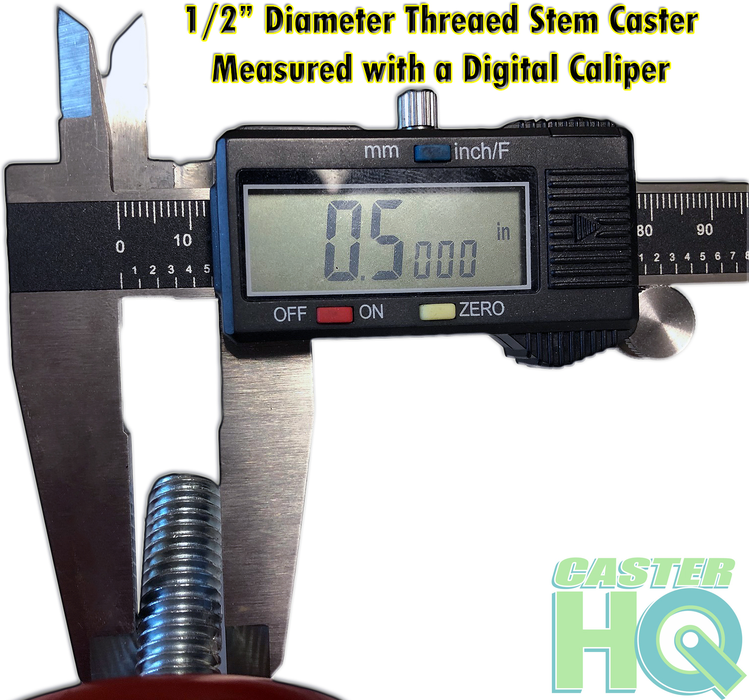 "1/2"" Threaded Stem Measured with a Digital Caliper"