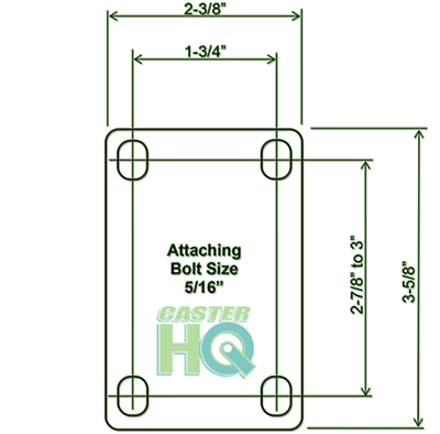 """3"""" X 1.25"""" Thermo Plastic Rubber Caster Set of 4 - 2 Swivel & 2 Rigid Casters - 900 lbs Capacity Per Set"""