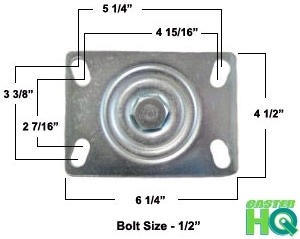 "4"" x 2"" Phenolic Wheel | Rigid Caster | Plate Size: 4-1/2 x 6-1/4"" | Capacity: 800lbs"