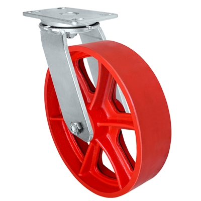 "12"" x 3"" Heavy Duty Swivel Caster - Red Ductile Steel Wheel - 2,500 lbs Capacity Per Caster"