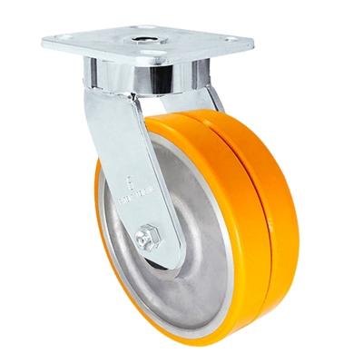 "6"" x 2"" Dual Wheel Caster | Polyurethane on Aluminum | Maintenance Free Dual Wheel Caster | 1,500 lbs Per Caster"